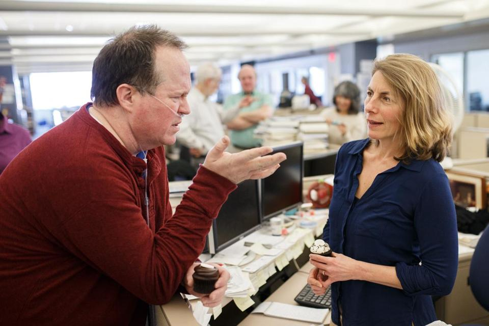 Globe reporter Sacha Pfeiffer talked with Joe Crowley during a visit to the newsroom in 2016.
